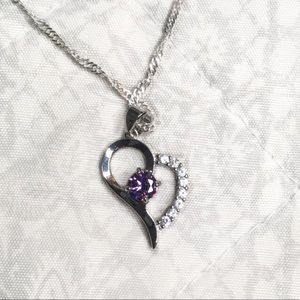 Jewelry - NEW Sterling Silver Amethyst Heart Shaped Necklace